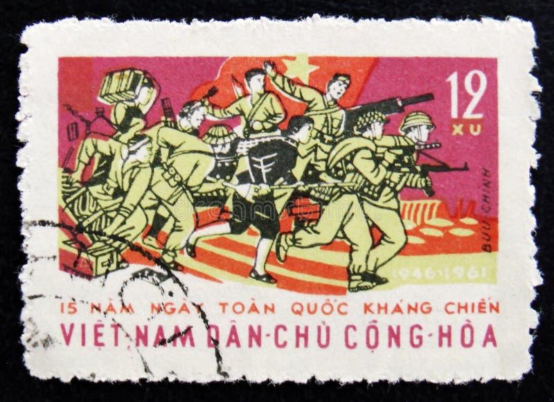 МОСКВА, РОССИЯ - 2-ОЕ АПРЕЛЯ 2017: Штемпель столба напечатанный в Вьетнаме стоковое фото rf