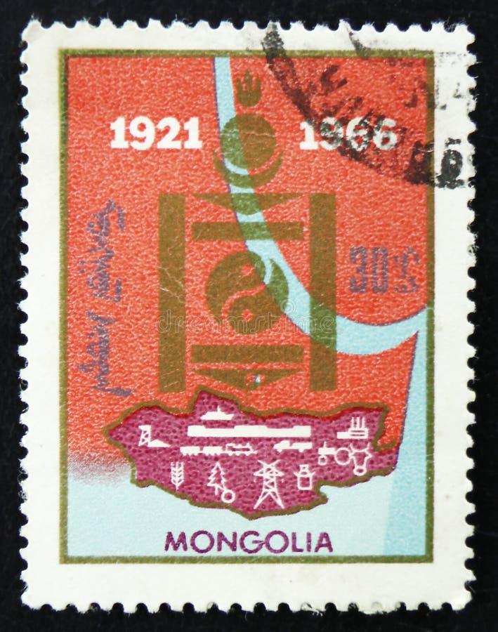 МОСКВА, РОССИЯ - 2-ОЕ АПРЕЛЯ 2017: Штемпель столба напечатанный в Монголии стоковые изображения