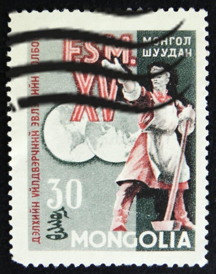 МОСКВА, РОССИЯ - 2-ОЕ АПРЕЛЯ 2017: Штемпель столба напечатанный в Монголии стоковые фотографии rf