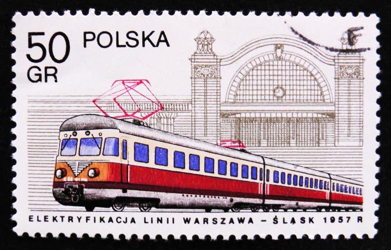 МОСКВА, РОССИЯ - 2-ОЕ АПРЕЛЯ 2017: Штемпель столба напечатанный в Польше s стоковое фото rf