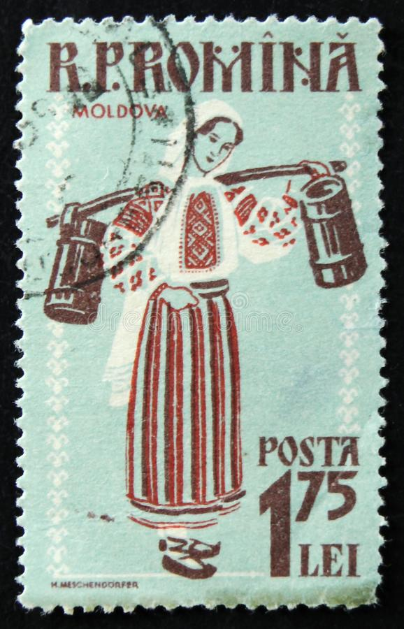 МОСКВА, РОССИЯ - 2-ОЕ АПРЕЛЯ 2017: Штемпель столба напечатанный в Румынии стоковое фото