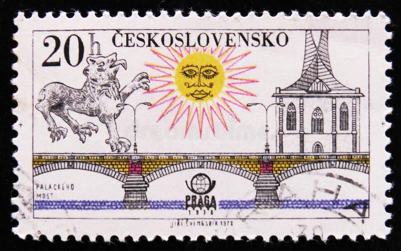 МОСКВА, РОССИЯ - 2-ОЕ АПРЕЛЯ 2017: Штемпель столба напечатанный в Czechosl стоковые изображения