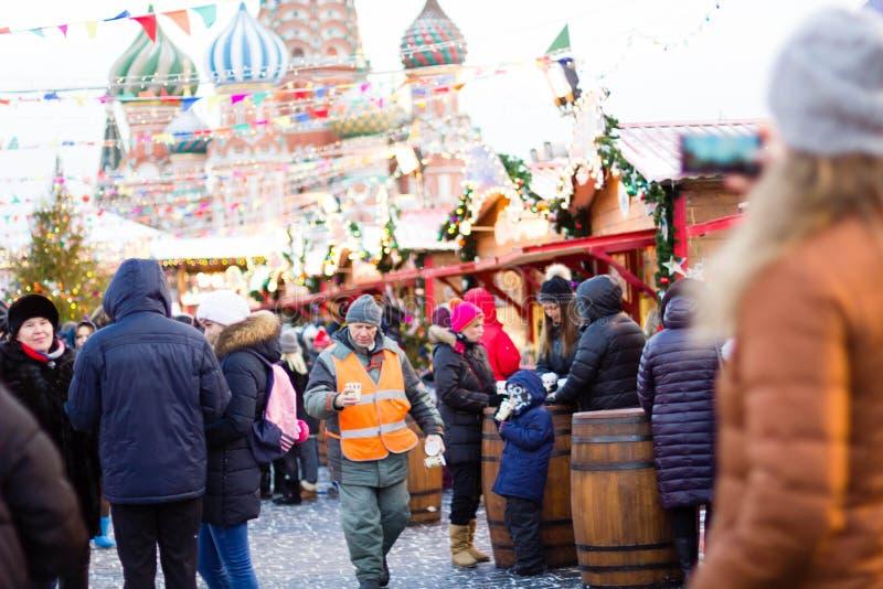 МОСКВА, РОССИЯ - 10-ое декабря 2016: Москва украсила на праздники Нового Года и рождества Каток камеди на красной площади стоковая фотография