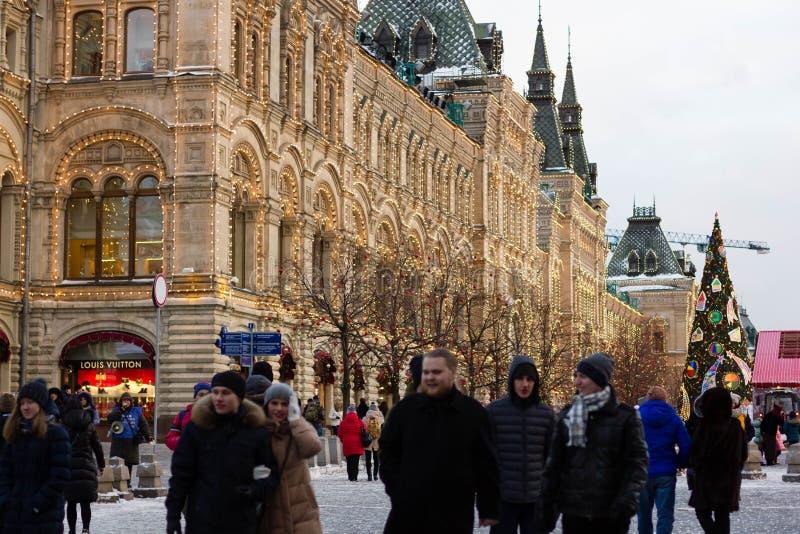 МОСКВА, РОССИЯ - 10-ое декабря 2016: Москва украсила на праздники Нового Года и рождества Каток камеди на красной площади стоковые фотографии rf