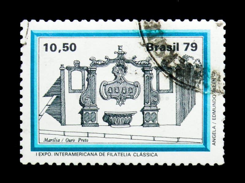 МОСКВА, РОССИЯ - 23-ЬЕ НОЯБРЯ 2017: Штемпель напечатанный в Бразилии sh стоковая фотография rf