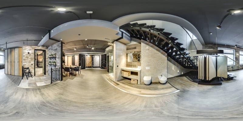 Москва - 2018: сферически панорама 3D с углом наблюдения 360 градусов красивого модного интерьера mod магазина дизайна мебели стоковые фото
