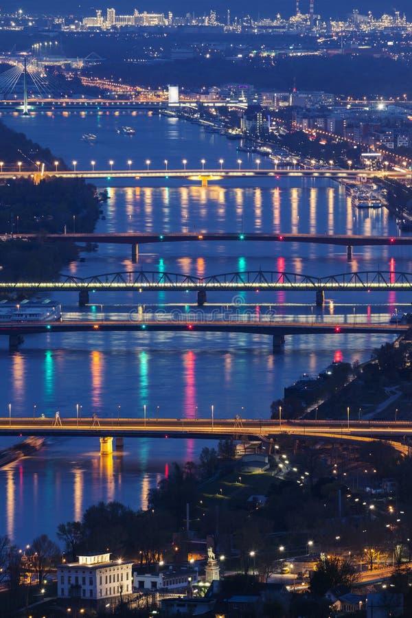 Мосты на Дунае в вене стоковое изображение rf