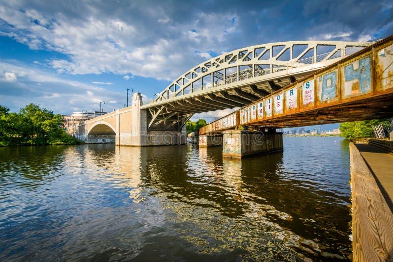 Мосты над Рекой Charles, в университете Бостона, в Бостоне, стоковое фото rf