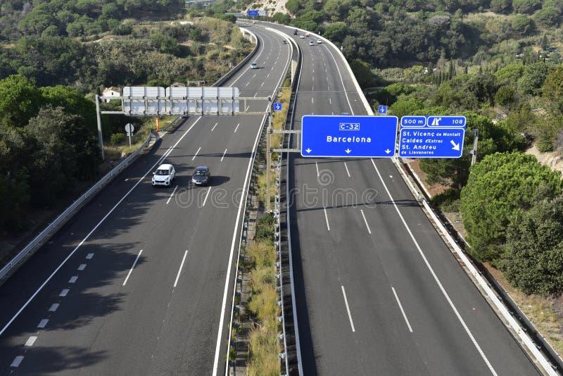 Мост автомагистрали C-37 в Барселону, Испания стоковые изображения
