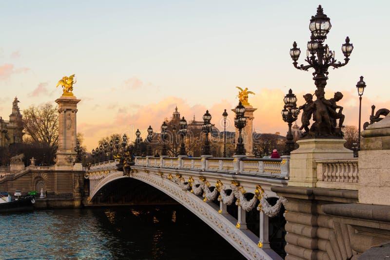 Мост Александр III, Париж, Франция стоковое фото