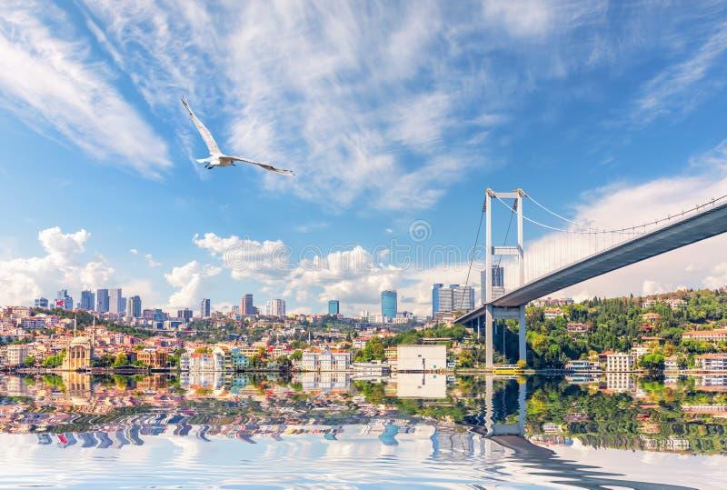 Мост Босфор и мечеть Ортакой, прекрасный вид на море, Стамбул, Турция стоковая фотография