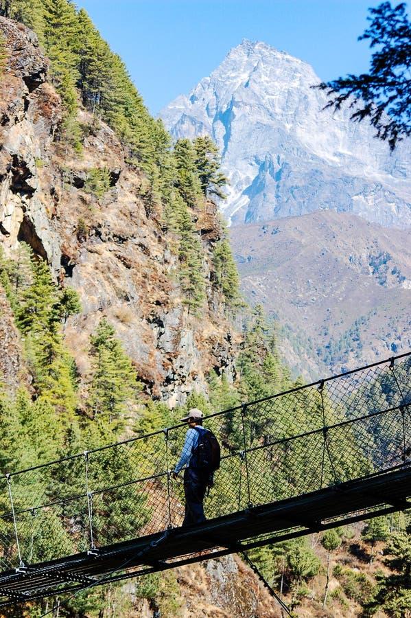Мост веревочки скрещивания Trekker на trekking трассе стоковые фотографии rf