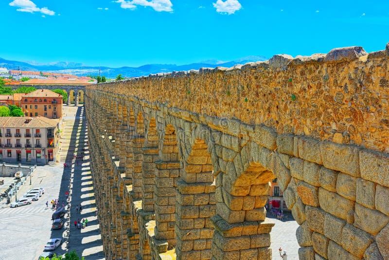 Мост-водовод Сеговии или более точно, мост мост-водовода стоковое изображение