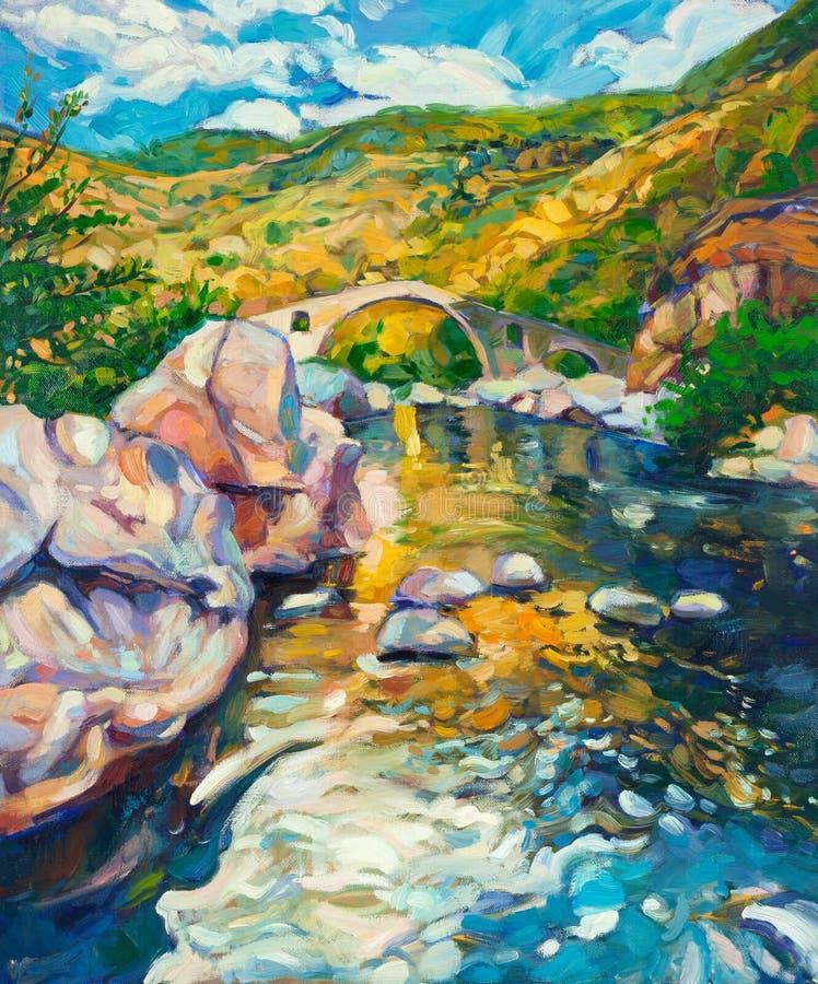 Мост в горах бесплатная иллюстрация