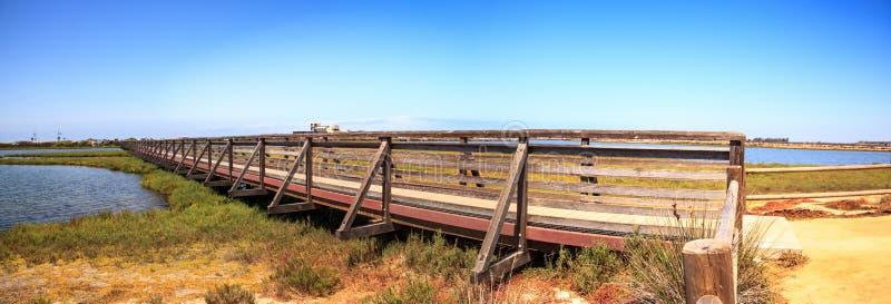 Мост вдоль мирного и спокойного болота wetl Bolsa Chica стоковое изображение