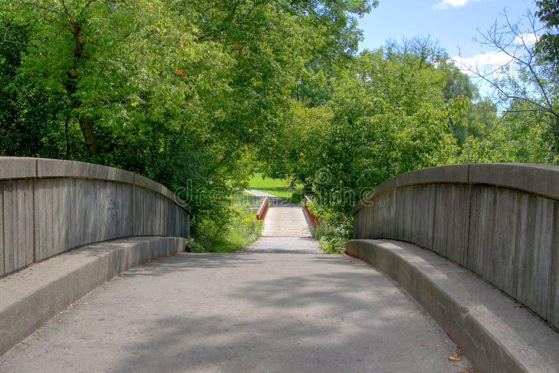 Мост в солнечном парке ручейка стоковая фотография