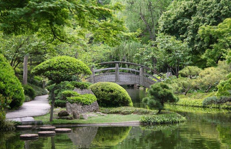 Мост в японском саде стоковое изображение rf
