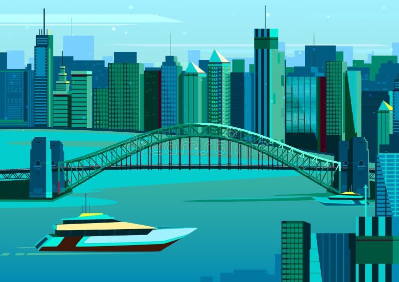 Мост гавани в Сиднее, Австралии иллюстрация вектора