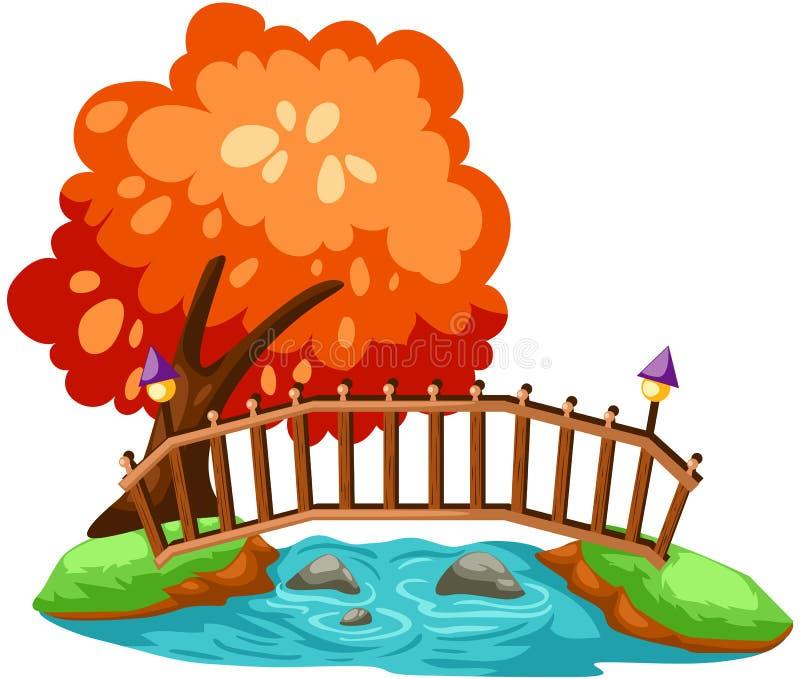 мост деревянный иллюстрация вектора