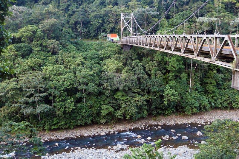 Мост для автомобилей над рекой в джунглях Коста-Рика стоковые изображения rf