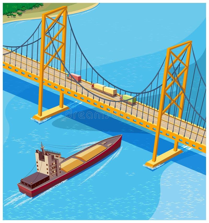 Мост залива иллюстрация вектора