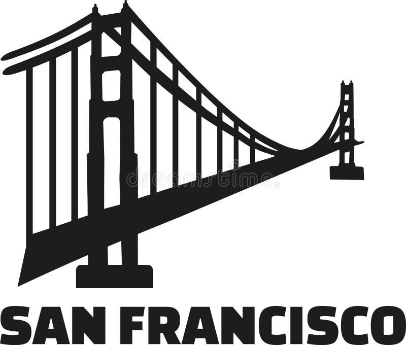 Мост золотого строба с словом Сан-Франциско иллюстрация вектора