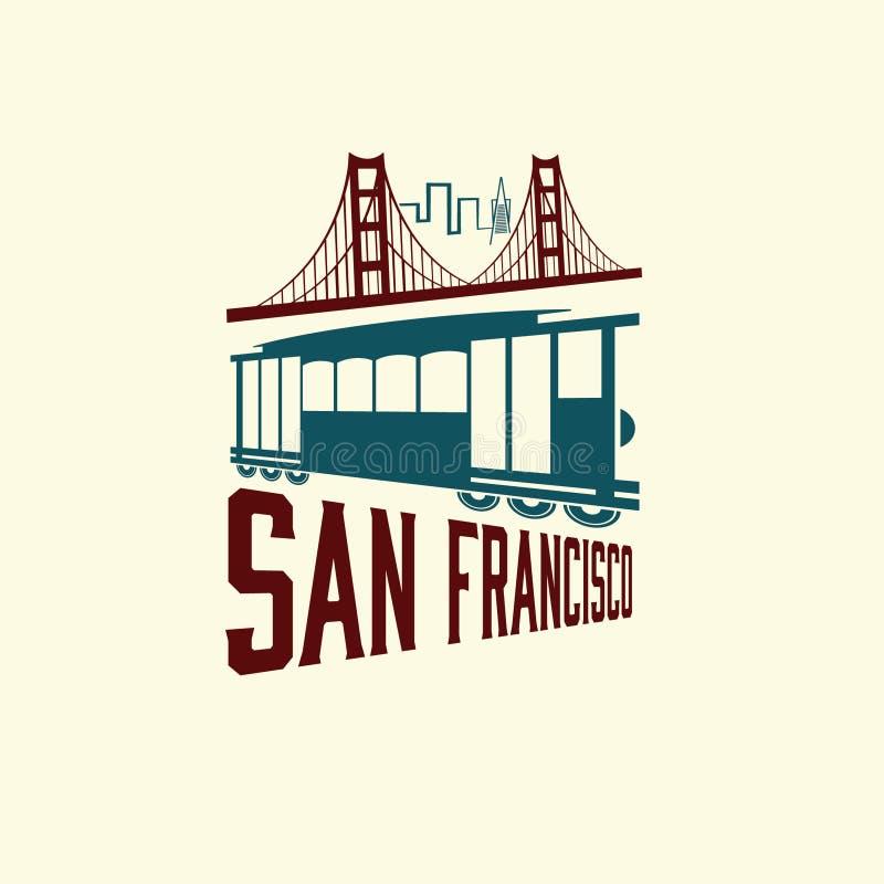 Мост золотого строба и трамвай бесплатная иллюстрация