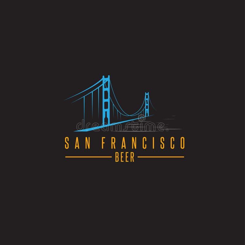 Мост золотого строба Сан-Франциско с вектором пивных бутылок иллюстрация штока