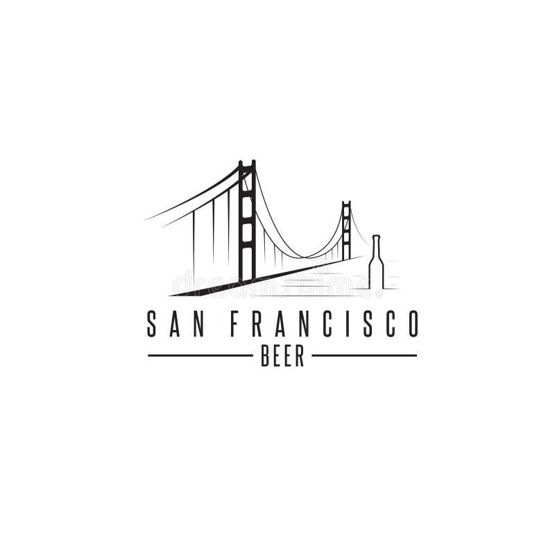 Мост золотого строба Сан-Франциско с вектором пивных бутылок бесплатная иллюстрация