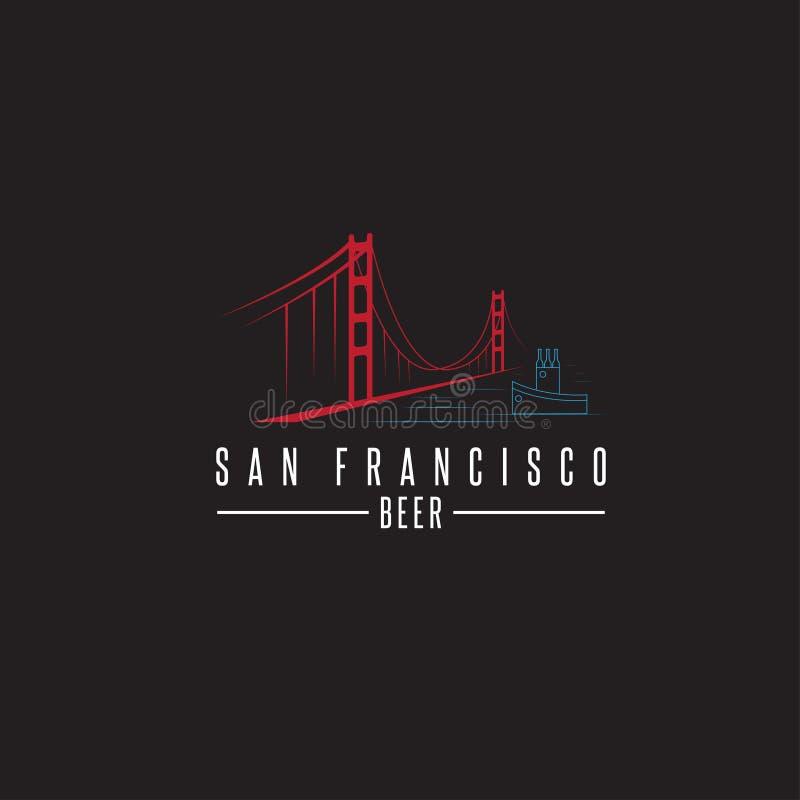 Мост золотого строба Сан-Франциско с пивными бутылками и шлюпкой бесплатная иллюстрация