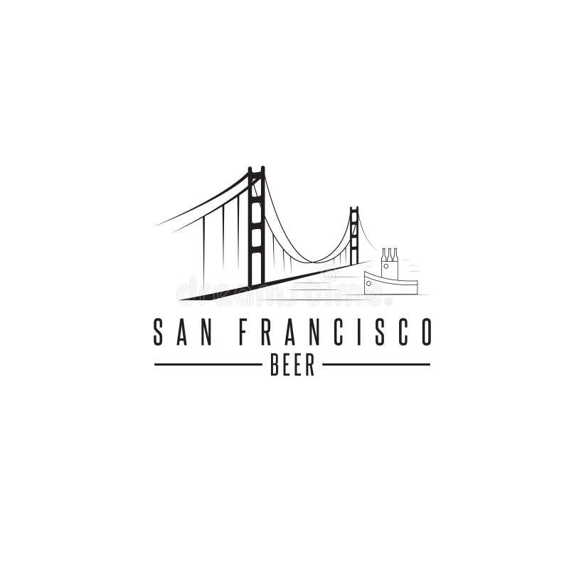 Мост золотого строба Сан-Франциско с пивными бутылками бесплатная иллюстрация