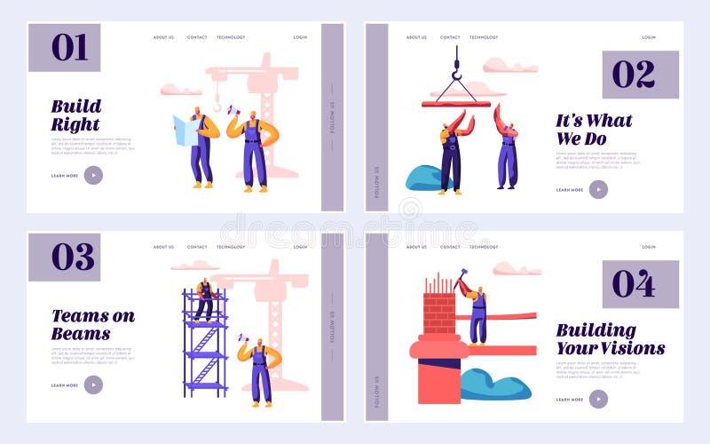 Мост инженерства команды построителя со страницей посадки крана конструкции установленной Архитектор с воротами строения молотка  иллюстрация штока
