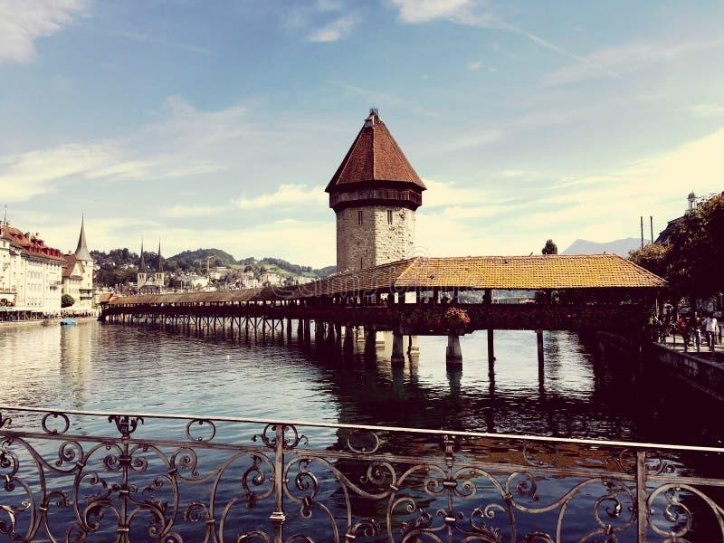 Мост и башня Люцерна известные стоковые фото