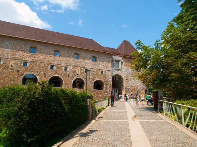 Мост и вход к замку Любляны стоковое фото rf