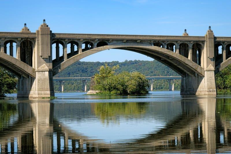 Мост и Река Susquehanna Колумбии Wrightsville стоковое фото