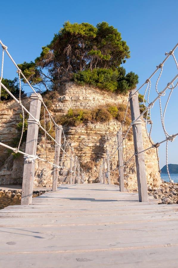 Мост к острову камеи, Закинфу, Греции стоковые изображения rf