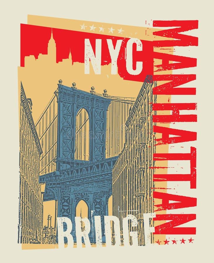 Мост Манхаттана, Нью-Йорк, силуэт бесплатная иллюстрация