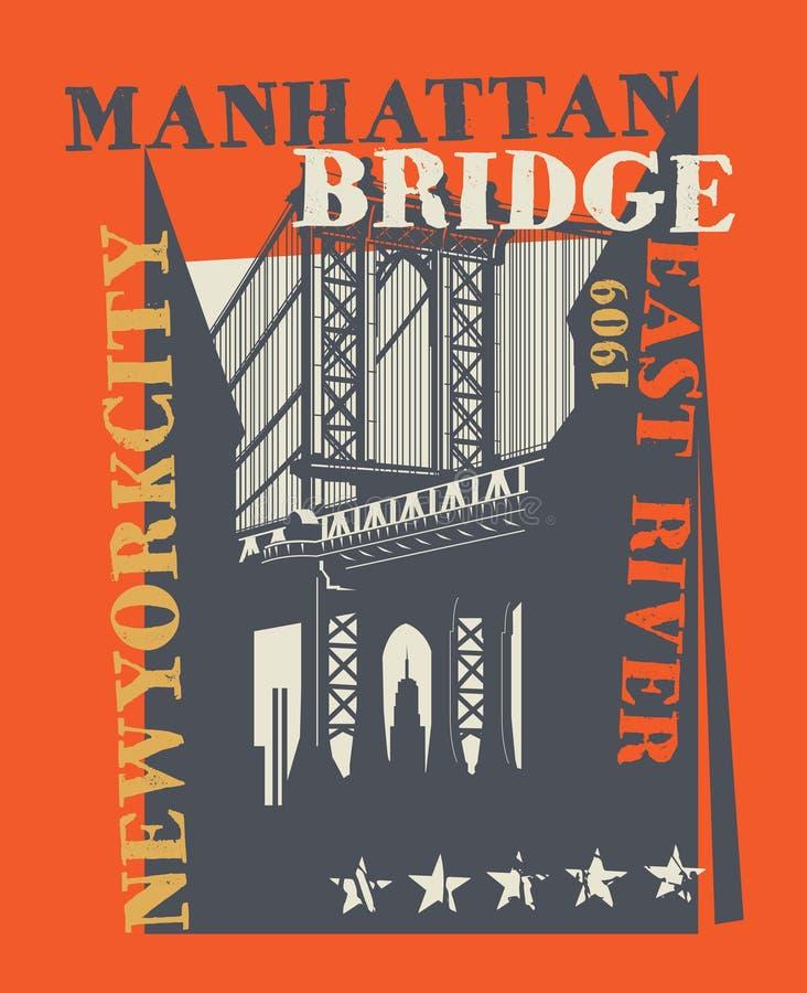 Мост Манхаттана, Нью-Йорк, силуэт иллюстрация штока