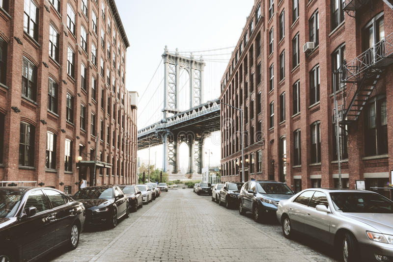 Мост Манхаттана от улицы Вашингтона, Бруклина стоковая фотография
