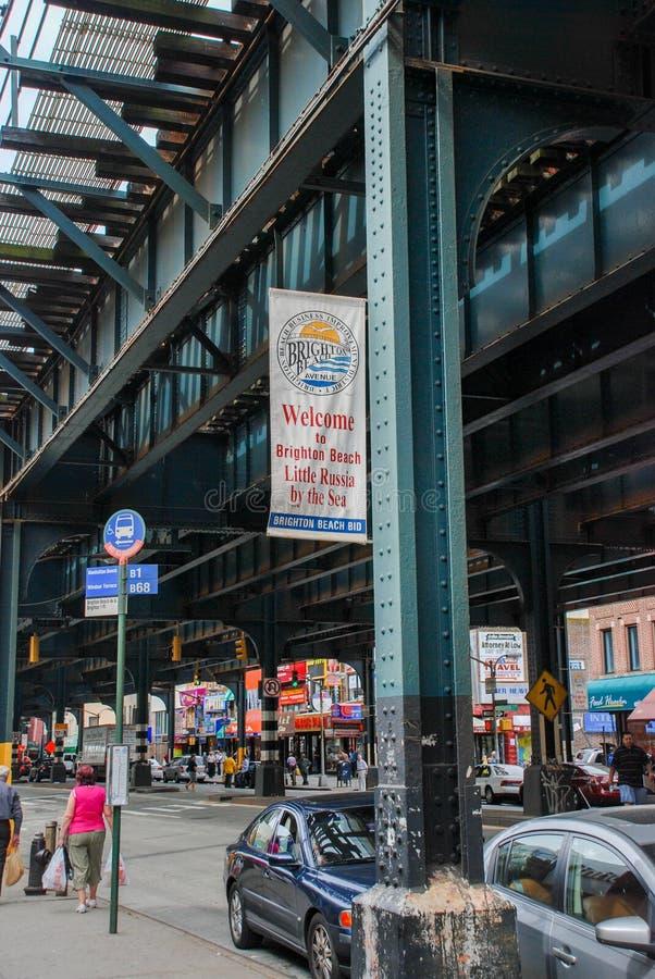 Мост метро утюга в пляже Брайтона, Бруклине стоковое изображение rf