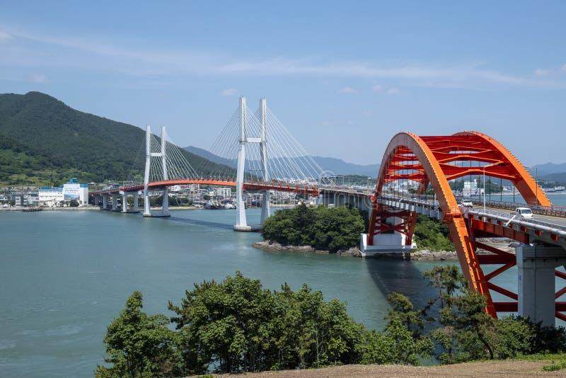 Мост, море и острова стоковые фотографии rf