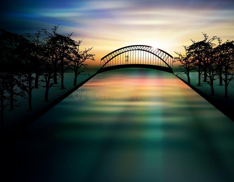 Мост над озером на заходе солнца иллюстрация штока