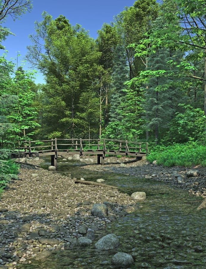 мост над полесьем потока бесплатная иллюстрация