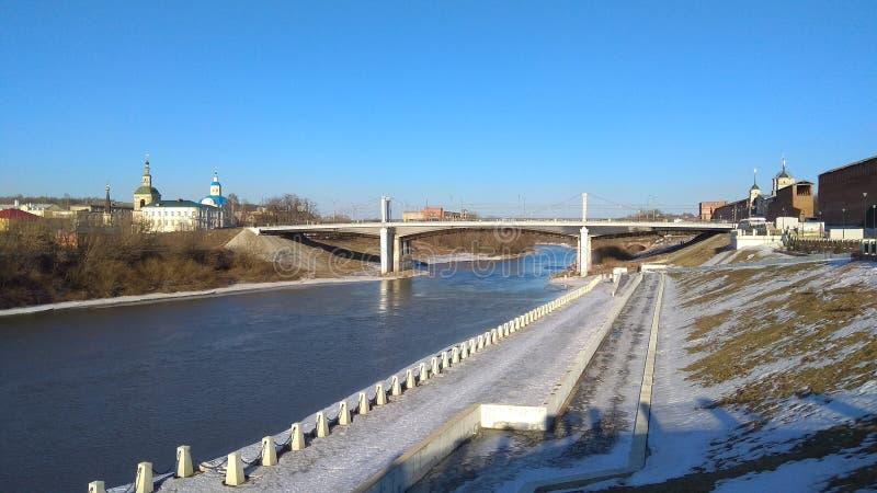 Мост над рекой Dnieper в Смоленске, России стоковое изображение rf