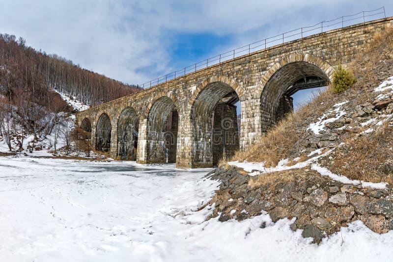 Мост над заливом реки большим крутым стоковое изображение rf