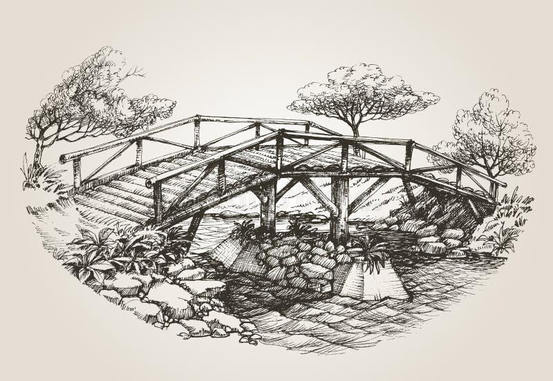 Мост над эскизом реки иллюстрация штока