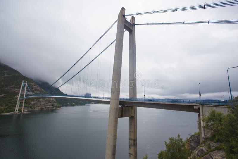 Мост над Lysefjord стоковые фотографии rf