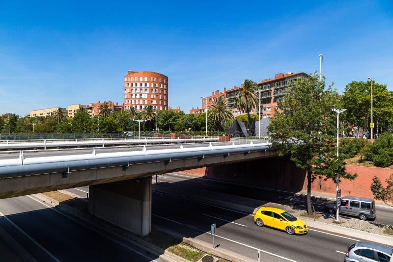 Мост на Ronda Litoral в Барселоне стоковые фотографии rf