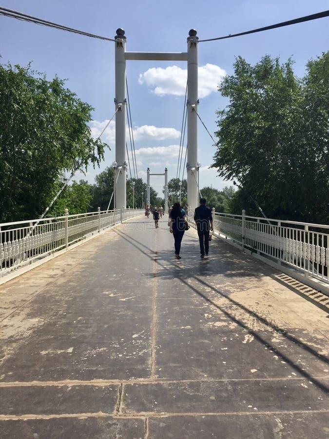 Мост пешеходов в Оренбурге стоковые фото
