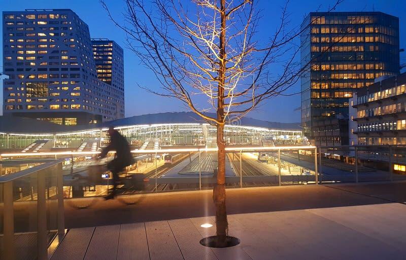 Мост пешехода и велосипедиста, центральная станция Utrecht стоковое изображение rf